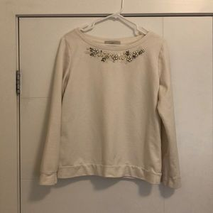 ❤️ 2 for$22 Loft Jewel Neck Cream Sweatshirt